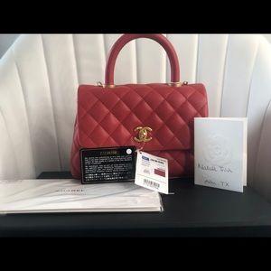 19P Chanel red mini coco handle
